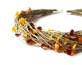 Linen Necklace with Amber, Baltic Amber Necklace, Yellow Brown Sun Amber, Spring Jewelry