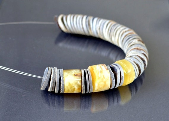 Amber Necklace, Shades of Silver, Yellow Honey Sterling Silver Gray Shell, Modern Necklace