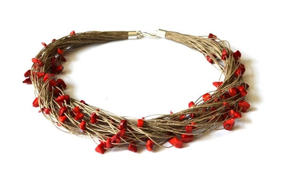 Linen Necklace with Red Coral, Multi Strand Red Necklace - Natural Spring Fashion, Summer Gift