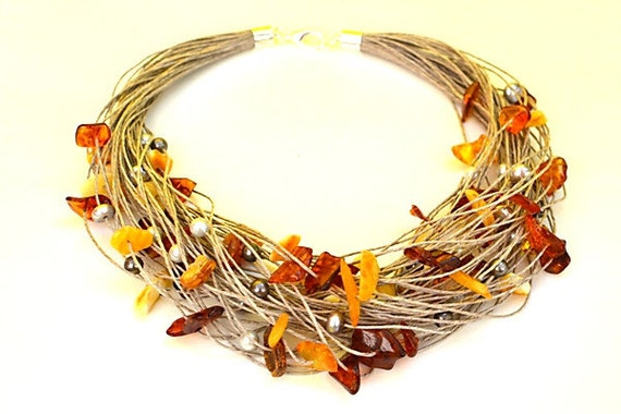 Linen Necklace Natural Amber Necklace with silver pearl, grey, ivory shell, linen jewelry