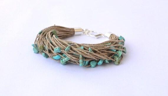 Linen Bracelet with Turquoise Eco Style Blue Teal Bracelet, Christmas Fashion, Fiber Multistrand Beadwork