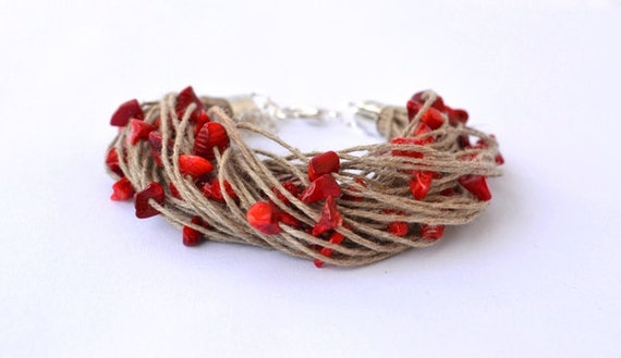 Coral Bracelet Linen Jewelry Spring Gift Eco Fashion Natural Fiber Eco Friendly Bracelet