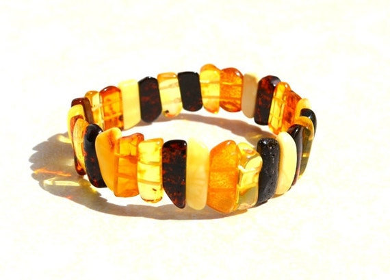 Baltic Amber Bracelet Natural Amber Jewelry Honey, Yellow, Brown Amber, Multicolor Amber