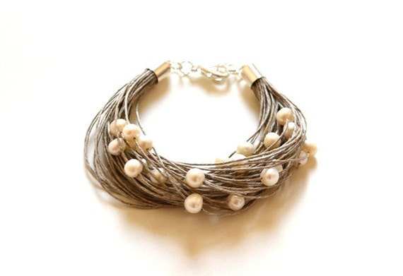 Pearl Linen Bracelet - Natural White Pearl Bracelet - Pearl Wedding Jewelry, Bridal Gift, Eco Wedding