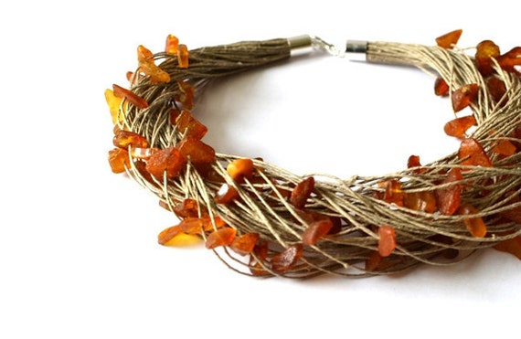 RESERVED for Yelena Raw Amber Necklace Natural Amber Linen Necklace, Yellow Brown Gemstone Natural Winter Gift