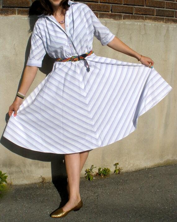 80s Lavender and Lilac Chevron Shirt Dress - Small/Medium