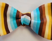 Yellow, Brown, and Blue Striped Cotton Self Tie Bow Tie