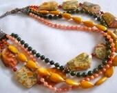 Chunky Beaded Multi Strand Necklace, Leopardskin Jasper Necklace, .925 Sterling Silver