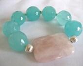 Rose Quartz Focal Stretch Bracelet, Handmade Bracelet, Handmade Jewelry, Aqua Glass, Hand Crafted