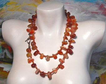 Carnelian Chunky Necklace, Beaded Long Necklace, Carnelian Nuggets, .925 Sterling Silver