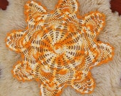 Yellow Crochet Doily - Handmade Vintage - Wedding Home Decoration Rustic Wedding