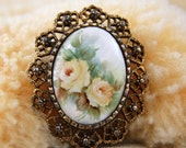 Cameo Filigree Brooch Pendant  Pin - Vintage Victorian Revival Gold Tone Costume Jewelry / Yellow Flowers