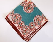 Vintage Printed Handkerchief Hankie Green Peach Brown White Tones - Southwestern colors