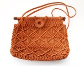 Reserved for Lois x - Vintage Macrame Purse Burnt Orange - Boho Hippie Handbag