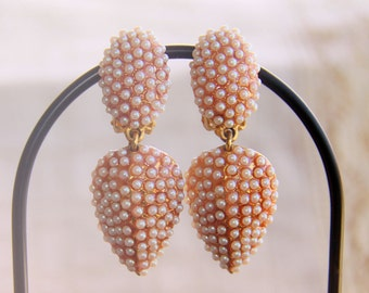 Pearl Drop Earrings Signed Bellini by FormArt Faux Pearl/Gold Tone - Vintage - Unusual