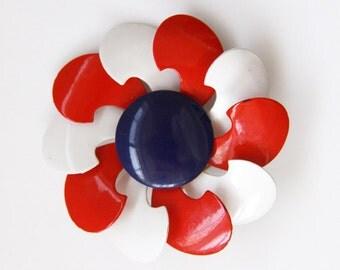 Red White Blue Brooch Pin - Large Flower - Vintage Jewelry - Patriotic- Gold Tone  Metal Enamel