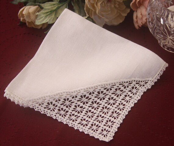 Linen Crocheted Handkerchief White with Lace - White