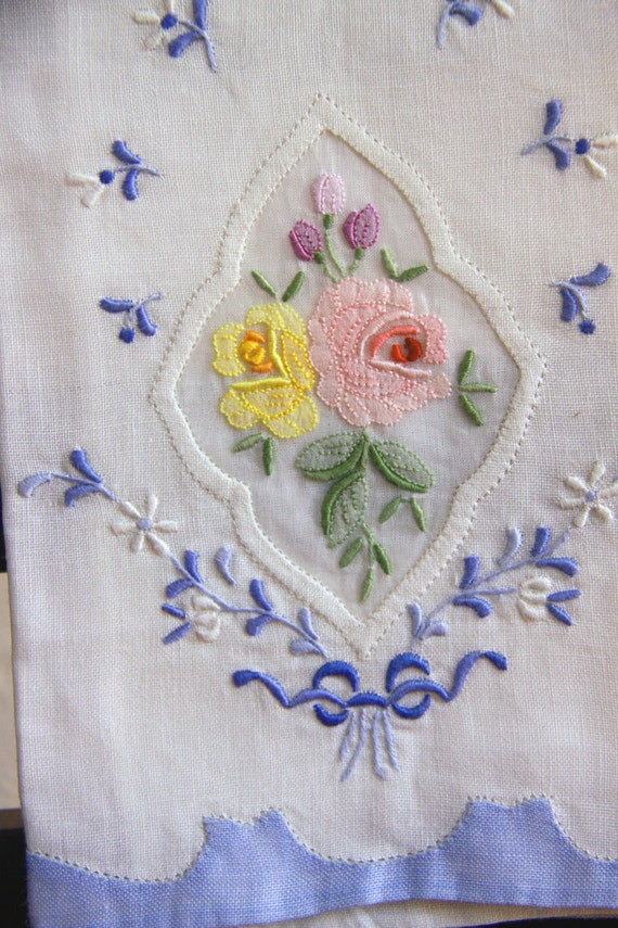 Linen Hand Towel, Tea Towel, Tea Towel Embroidery, Handmade Tea Towel, Blue White Pink Yellow Pink and Lilac Flowers - Vintage