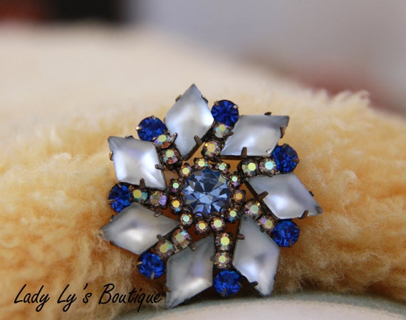 Aurora Borealis Blue Brooch - Sapphire Blue Rhinestones Frosty Pinwheel Pin - Something Blue - Vintage