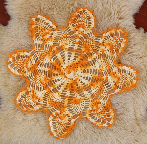 Yellow Crochet Doily - Handmade Vintage - Wedding Home Decoration Rustic Wedding