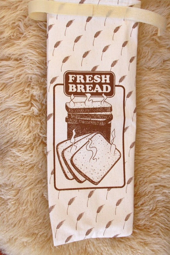 BREAD Bag Reusable Made in USA Fabric Bag Plastic Lining - Keep Bread Fresh Vintage