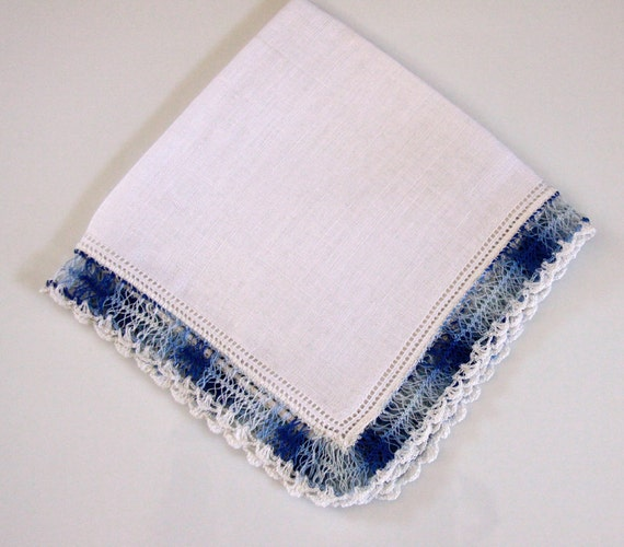 Linen Crochet Handkerchief Vintage Hankie with Crochet Edge Blue and White State Sale - NEW