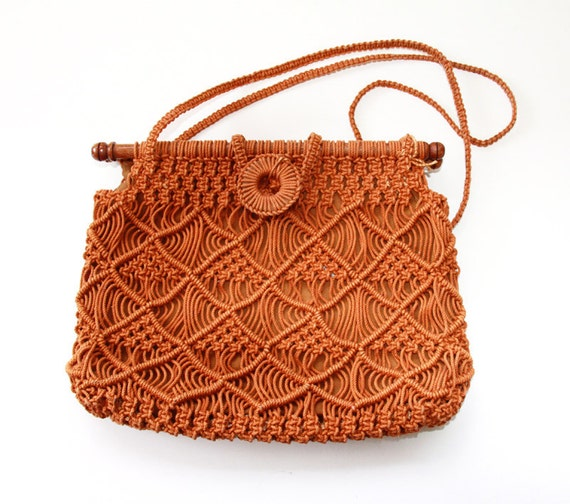 Reserved for Lois x - Vintage Macrame Purse Burnt Orange - Boho Hippie Handbag
