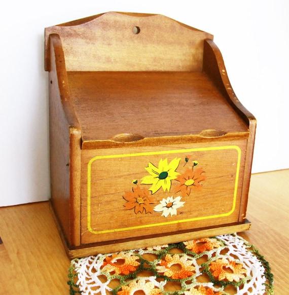 Vintage Wooden Recipe Box - Flowers Orange Yellow and White