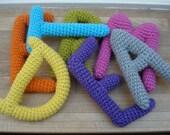Crochet letters for namechain for pram or stroller