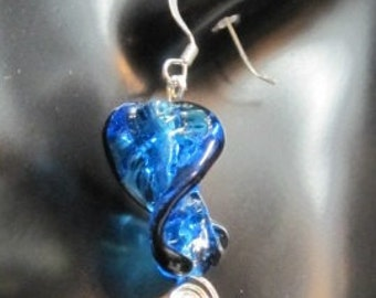 Blue Lamp-worked Twisted Leaf Earrings with Silver Plated Wire Accent