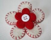 Felt flower brooch - white and red