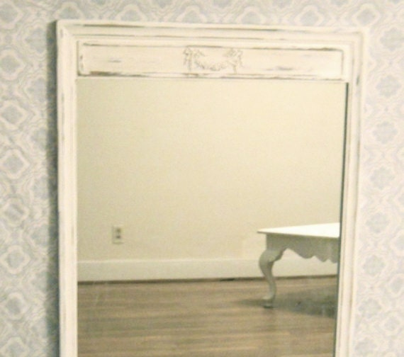 Shabby Chic Distressed Antique Blue and White Cottage Wall Mirror