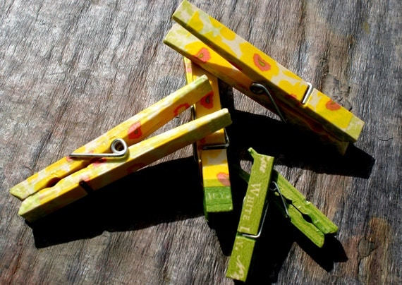 Memo Clip Decrotive Wooden Clothespins/ Yellow Abstact Poppy Washi Tape & Lanuage of Flowers Paper Tape