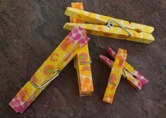 Memo Clip Decorative Clothespins/ Yellow Abstract Poppy , Pink & Orange Polka Dots Japanese Washi Tape