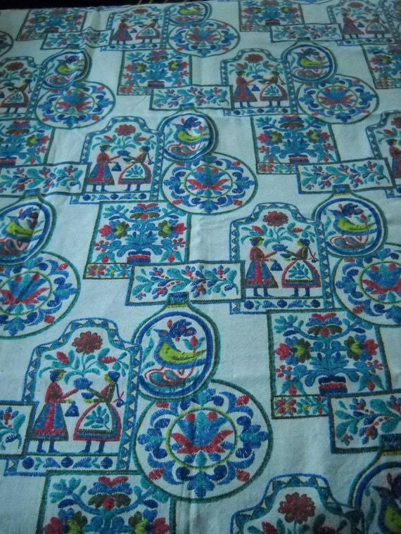 Vintage Folklore Fabric approx. 4.5 yds in Vibrant Colors