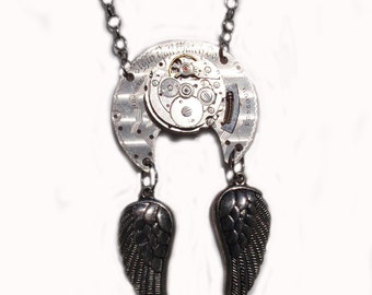 Steampunk Necklace, Elgin Watch Base, Graceful Antiqued Silver Wings, Great After hours Artwear