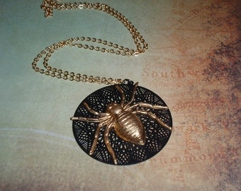 Steampunk Necklace, Gold Spider, Intricate Cut Web,
