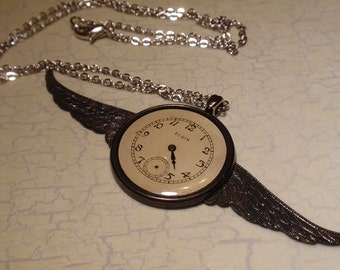Steampunk Necklace, Vintage Elgin Watch Dial Necklace, Antiqued Bronze Wings Necklace, Watch Face Necklace, N54