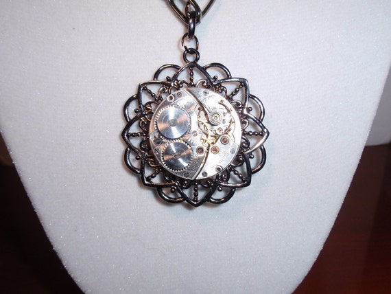 Steampunk Necklace, Classy Waltham Timepiece, Gun Metal Filigree Focal