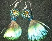 Glass, Swarovski Crystal and Peacock Feather Earrings