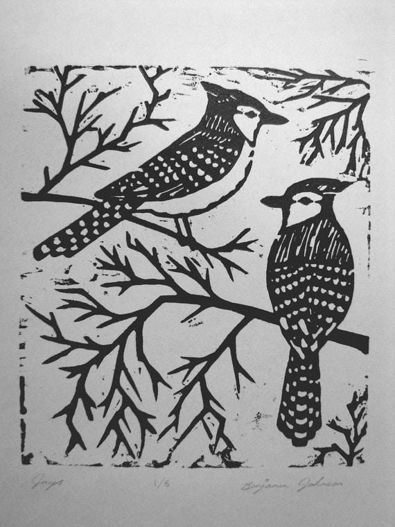 Blue Jays Woodblock Print