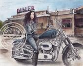 Harley Diner Stop Ink Art Print