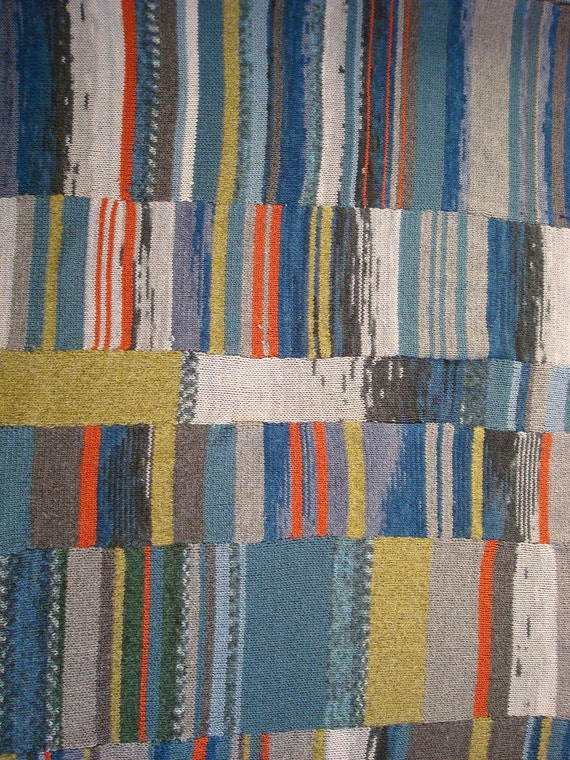 Hand knit blanket, stripes and rows in winter tones single bed size afghan (to be made on order)