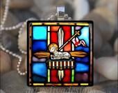 LAMB of GOD Jesus Christ Holy Cross Religious Glass Tile Pendant Necklace Keychain