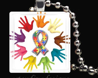 AUTISM AWARENESS Glass Tile Pendant Necklace Keyring design 1