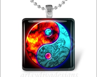 FIREWATER YING YANG Fire Water Glass Tile Pendant Necklace Keyring
