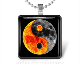 SUN Moon YING YANG Sun and Moon Glass Tile Pendant Necklace Keyring