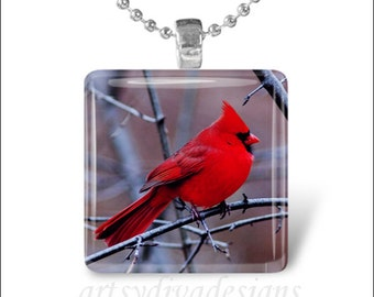 CARDINAL BIRD Red Cardinal Spring Bird Glass Tile Pendant Necklace Keyring design 1