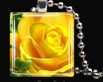 YELLOW ROSE Spring Flower Garden Glass Tile Pendant Necklace Keyring