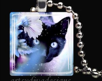 BLACK CAT MAGIC Kitty Cat Glass Tile Pendant Necklace Keyring